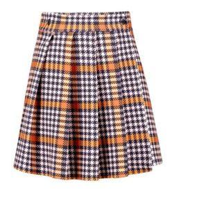 Dogtooth Pleated Wrap Mini Skirt (Never Worn)